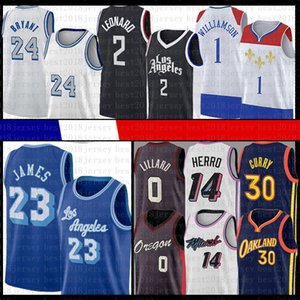 Zion 1 Kawhi Williamson Damian Leonard Lillard LeBron James 23 Jersey Los Angeles Nuovo