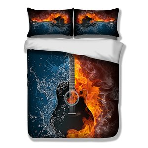 Bass Guitar Bedding Set 3D Printed Duvet Cover Fire And Water Football Bedclothes Sport style Quilt Cover sets Home Textiles