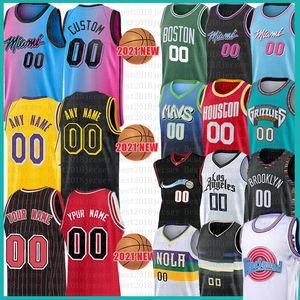 LOS Custom Angeles Mens Баскетбол Майки фильма Космический Варенье Настройка Squad Jersey 2021 Новая сетка Ретро