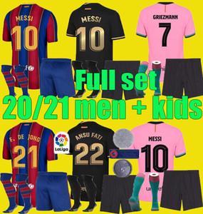 2020 2021 FC Barcelona Messi Fußball Jersey 20 21 Camiseta de Futbol Ansu Fati Griezmann de Jong Maillots de Football Shirt Herren + Kids Kit