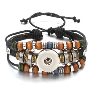 New Fashion Braided Leather Bracelets With Beads Fit 18mm Snap Button Charms Diy Snap Jewelry For Women M bbyFpX
