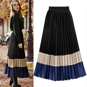 NUOVO gonna a pieghe di velluto autunno inverno gonna Vintage Skirt bottom Midi lungo a blocchi di colore elegante Ufficio Streetwear JET 1