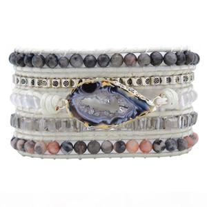 Unique Natural Stones Druzy Wrap Bracelet Female Handmade Boho Bracelet For Women Girls White Leather Bracelet Dropshipping J190703