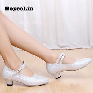 Women Dance Shoes Closed Toe Glitter Ballroom Party Tango Ballroom Modern Dancing Heels for Ladies Indoor Sole Heeled 3.5 5.5cm 201017