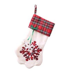 Paw Weihnachtsstrumpf Plaid Geschenktüte Weihnachten Strümpfe Socken Weihnachtsbaum hängende Ornamente Dekorationen Partei-Dekor Pendent GGA3781-4