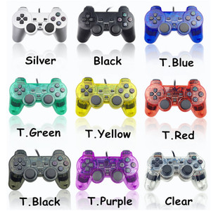 Controlador con cable PS2 Doble vibración Joystick Gamepad Game Controladores de juego para PlayStation 2 Color transparente