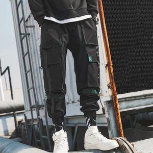 Men's Side Pockets Cargo Harem Pants Ribbons Black Hip Hop Casual Male Joggers Trousers Fashion Casual Streetwear Pants