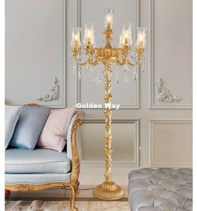 Modern Golden Floor Lamp Decorative Stand Light Fixture Cristal Standing Lamp D60cm H160cm LED High Quality Home Decoration Lamp
