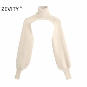 Zevity новых женщин моды водолазку воротник фонарь рукав вязать свитер женский длинный рукав случайные свитера шикарные топы S398