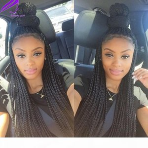 Hotselling Synthetic lace front wig black micro braids wig with baby hair for women heat resistant fiber box braid wig glueless