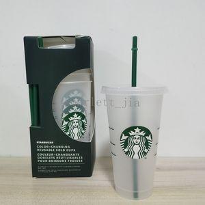Taza de bebida de la parte inferior de la paja Reutilizable Reutilizable Bardian Starbucks Taza plástica plana Pilar 24oz / 710ml Forma libre Taza Borrar tapa xnjqr