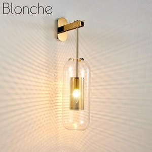 Post-modern Glass Wall Lights Gold Wall Lamp Led Sconces for Bedroom Bathroom Mirror Lighting Fixtures Home Kitchen Luminaire