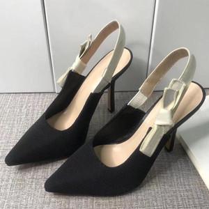 Дизайнерские сандалии STILETTO каблуки летние дамы сандалии на высоком каблуке с заостренным носом красивый бантик моды женские туфли холст женские лаз