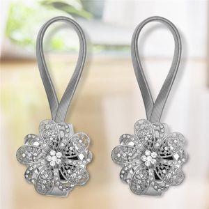 Fashion Diamond Flower Design di alta qualità Paia della tenda di cristallo magnetica Tiebacks Tiebacks Ties Tenda Fibbia Clips Holdbacks