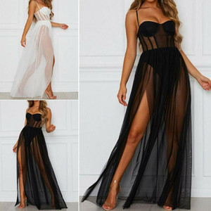 2021 Verão Split Vestido Longo Mulheres Sexy Hot Malha Fino Underwear Nightdress Two-Peça Vestido de Praia 2021
