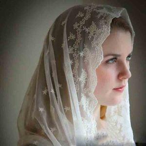 Muslim Catholic Women's Lace Cappa Sub-Veil Scarf ivory Black Catholic Veil