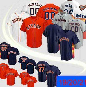 Camisa Houston Jersey Astros 2 Alex Bregman Astros 27 Jose Altuve 5 Jeff Bagwell 7 Craig Biggio 4 George Springer basebol feito sob encomenda