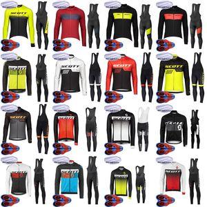 Men's SCOTT team Bike Winter Thermal Fleece Cycling Long Slleeve Jersey Bib Pants Sets Quick Dry Bicycle Outfits Sport uniform S101209