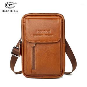 جلد طبيعي حقيبة واسط للرجال الهاتف المحمول فاني حزمة مصغرة حزام الحقيبة المال حزمة الحقيبة حالة غطاء حامل للسفر حقيبة