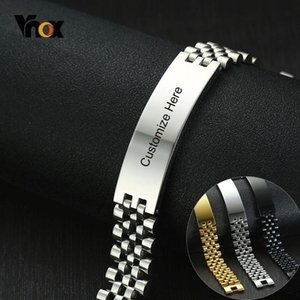 Vnox 15mm Chunky Bracelets for Men Free 3 Color Stainless Steel Watch Band with ID Bar Design Tough Man Custom Jewelry