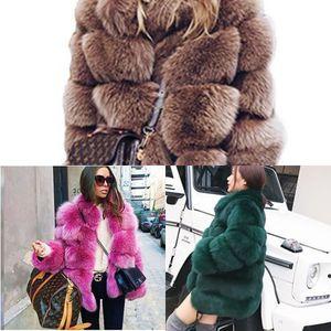 Última grueso Uppin invierno caliente imitación de las mujeres Fox Chaqueta de la manera ocasional otoño prendas de vestir exteriores de las muchachas más el tamaño del abrigo de pieles VZVX