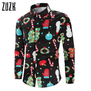 ZUZK Рождество 3D печати Tree рубашка Мужчины осень с длинным рукавом рубашки зимы Printed Mens смешной