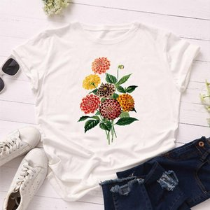 Women 2021 Summer Short Sleeve Floral Daisy Fashion Lady T shirts Top T Shirt Ladies Womens Graphic Female Tee Shirt