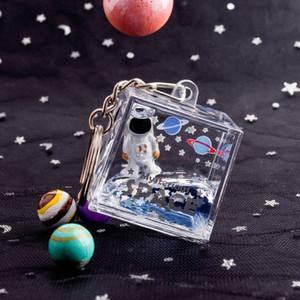 Spaceman Keychain Astronaut Bag Charm Keyring Square Quicksand keychain Jewelry Glitter Moving Liquid Key Ring Creative Gift opp bag