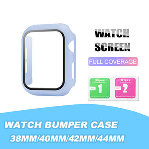 다채로운 PC 실리콘 범퍼 케이스 시계 시리즈 1 개 2 개 3 개 4 개 전체 보호 커버의 38mm 40mm의 42mm에서 44mm 손목 시계 액세서리에서 OPP / 소매 상자