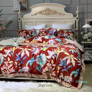 New Red Bedding Set With Pillowcase Luxury Cotton Duvet Cover King Size Bed Sheets Queen Size Bed Quilt Covers Sets