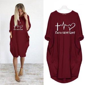 Mujeres espero que la fe ama la letra de la mamá estampada al vestido suelto casual vestido suelto con bolsillo1