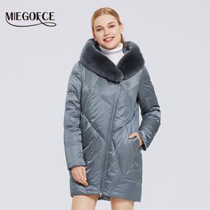 Miegofce 2020 세련된 모피 칼라 렉스 토끼 긴 겨울 여성 Parkas windproof 자켓
