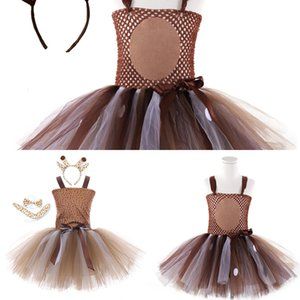 Tutu Deer Baby Dresses for Girls Halloween Costume Kids Elk Cosplay Christmas Birthday Party Dress with Headband SJCP