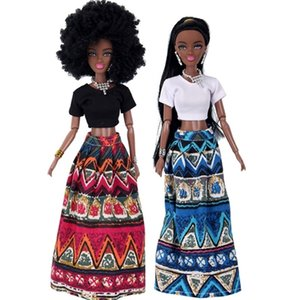 For American Doll Accessories Body 4 Joints National style Can Change Head Clothes Move African Black Girl Gift Pretend Toy Baby 201030