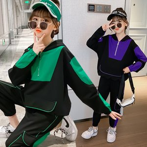 Fato infantil Outono Novo Estilo 2020 Korean-Style Girl's Girl Sports Parte Casual Estilo Ocidental ChildrenswearX1019