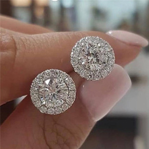 1.25ct Round Moissanite White Diamond Halo Brilliant Cut Stud Earrings 18K White Gold Bride Wedding Engagement Jewelry Gifts .