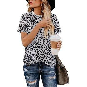 Yaz Kadın Bluz Gevşek Casual Sevimli Mürettebat Yaka T Shirt Leopard Baskı Temel Kısa Kollu Yumuşak Bluz Streetwear Tops
