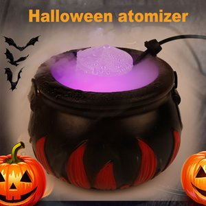 16W Halloween Smoke Machine Fog Mist Maker Color Changing Cauldron Shape Smoke Machine Fogger Party Decoration Prop