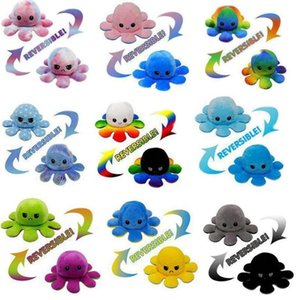 Reversible Flip Octopus Stuffed Plush Doll Soft Simulation Reversible Plush Toys Color Chapter Plush Doll Child Toys FY7309