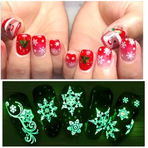 5D Luminous Nail Stickers Winter New Year Slider Wraps Decoration Glowing in The Dark Nail Art Decals