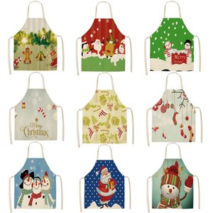 Christmas Parent-child Kitchen Apron Cartoon Santa Claus Print Sleeveless Linen Aprons for Kids Men Women Home Cleaning Tools C0127