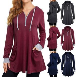 Женская осень Мода Твердые сукна толстовки с капюшоном Длинные фуфайки Уличная Топы с длинным рукавом сыпучих женской одежды