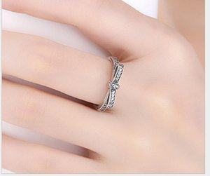 Silver Sparkling Bow Knot Stackable Ring Pandora Style Sterling Sliver Wedding Rings With Box Women Birthday ps0667