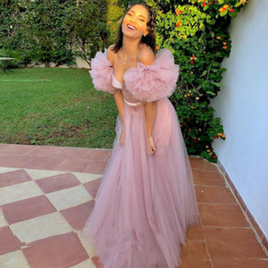 Off the Shoulder Pink Tulle Prom Dresses vestidos Sheer Bodice Formal Party Gowns Woman Evening Dresses cascading ruffles robe de soiree