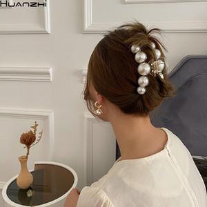 Huanzhi 2020 Новый гипербола Жемчуг Акриловые коготь клипы Большой размер макияжа Styling Barrettes для женщин Аксессуары для волос