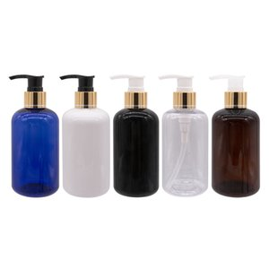 250ml X 12 Gold Aluminum-PLastic Lotion Pump Bottles Used For Shampoo Shower Gel Liquid Soap Personal Care Cosmetic Containers