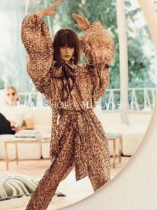 Deive Teger Lady Chiffon Bat Mangas Leopard Imprimir Print Shirtpants Lady Moda 2 Peça Set1