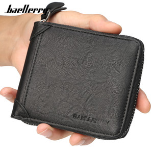 Baellerry Casual Style Zipper Men Wallets Card Holder Small Wallet Male Synthetic Leather Man Coin Purse Men's Carteira Q1220