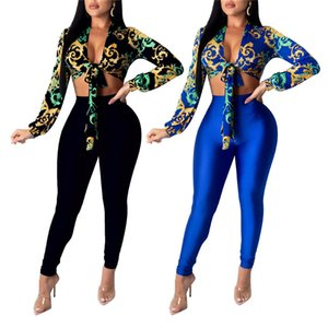 Женщины 2 шт наборы Женщины Sweatsuit лето Цветочные печати кружева рубашка Crop Топы высокой талией Длинные брюки костюмы 2020