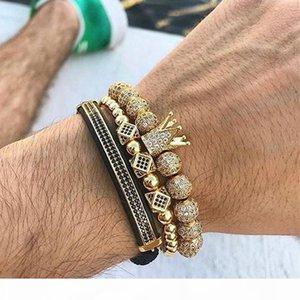 Mcllroy 3pcs set Luxury Charm Gold silver Crown Bracelets For Women Men Cubic Micro Pave Cz Braiding Bracelet Bangle Man Jewelry C19041001